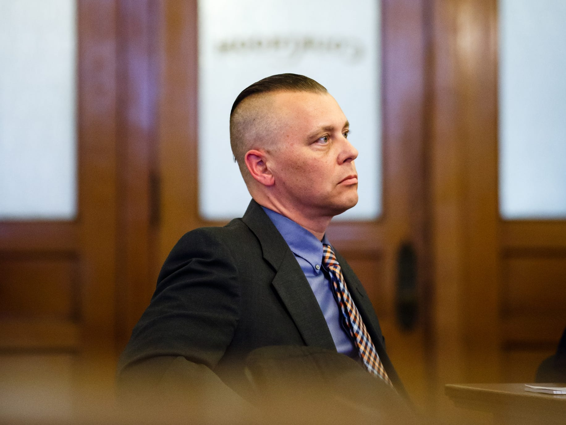 Troy Griffin sits and listens as his defense lawyer Robert Rehkemper makes his opening statements at the Dallas County Courthouse on Monday, Oct. 22, 2018, in Adel. Griffin's ex-wife Gina Battani accused him of raping her multiple times after they were married in April of 2016, but a Dallas County jury found him not guilty on all counts.