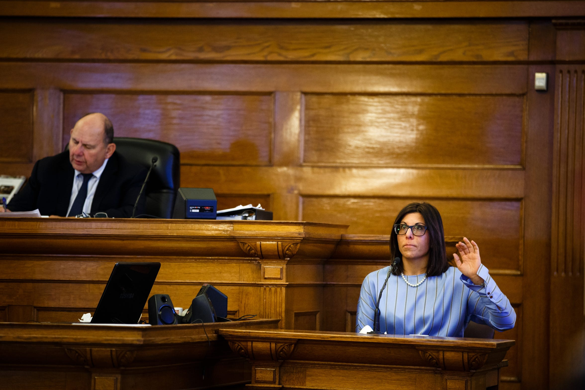 Gina Battani prepares to testify against her ex-husband Troy Griffin in his marital rape trial at the Dallas County Courthouse on Tuesday, Oct. 23, 2018, in Adel. The jury found Griffin not guilty on all counts.