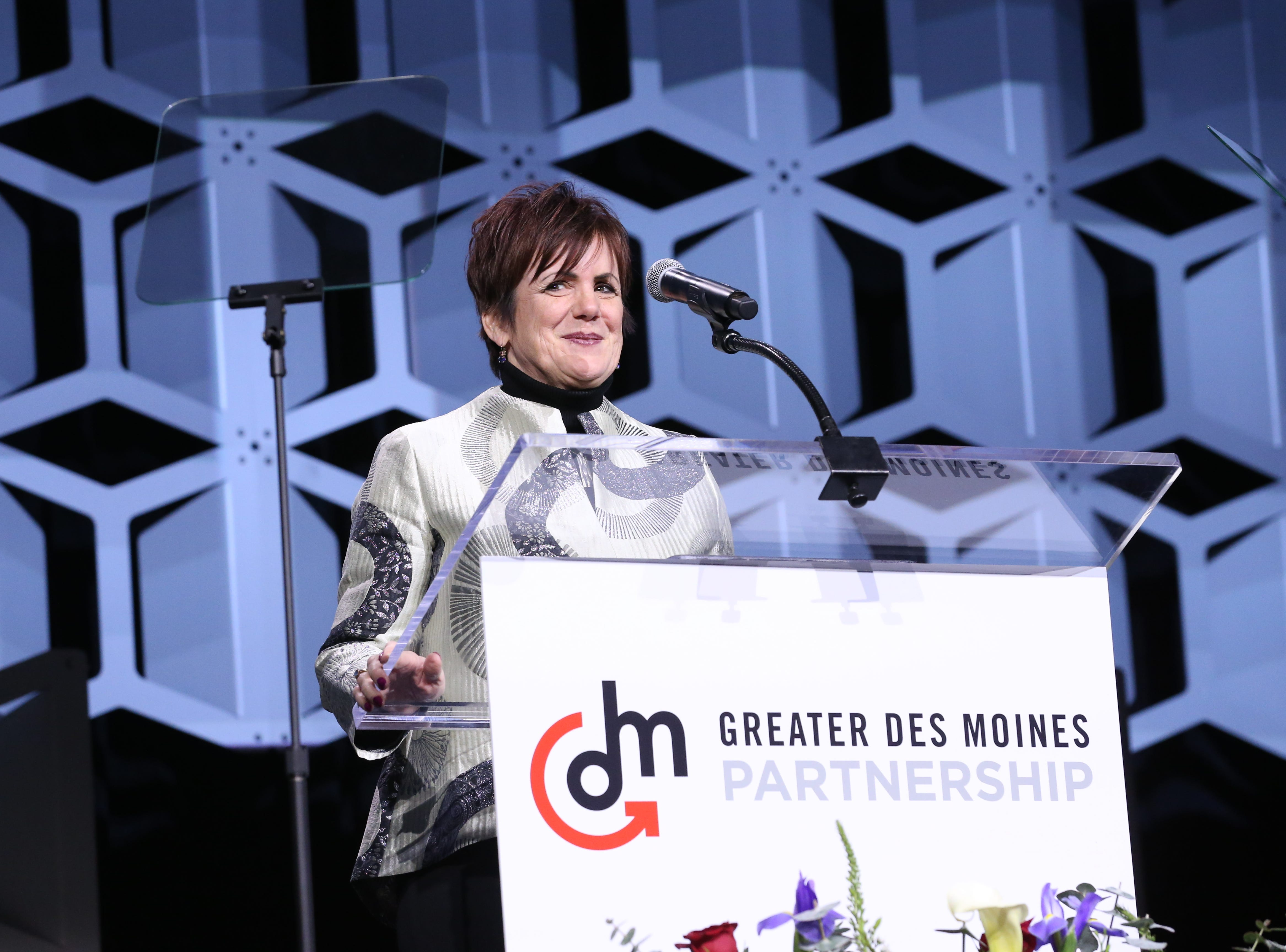 2019 Partnership Board Chair Kathryn Kunert speaks at the Partnership's Annual Dinner on January 17, 2019 at the Iowa Events Center.