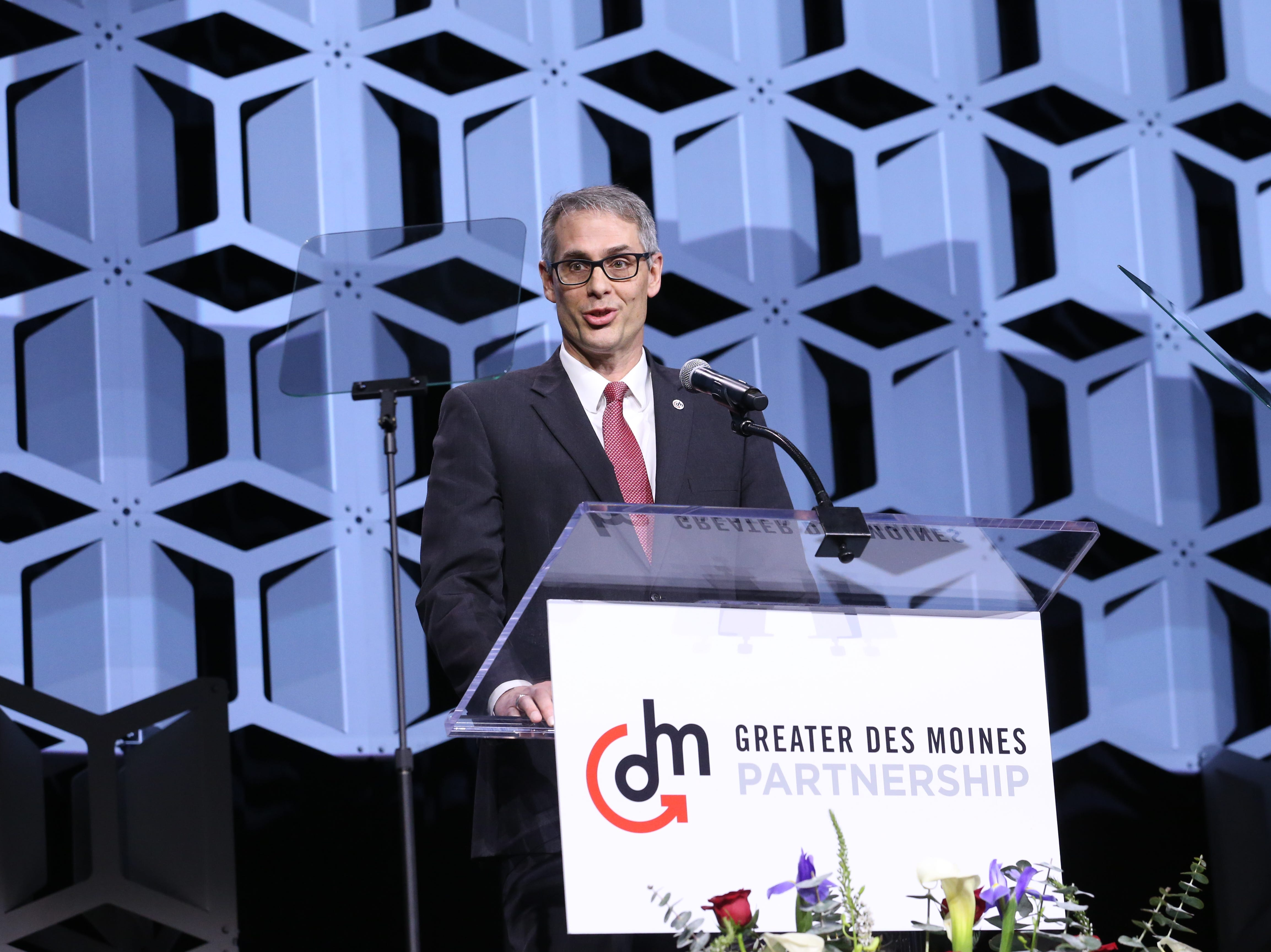 Greater Des Moines Partnership CEO Jay Byers at the Partnership's Annual Dinner on January 17, 2019 at the Iowa Events Center.