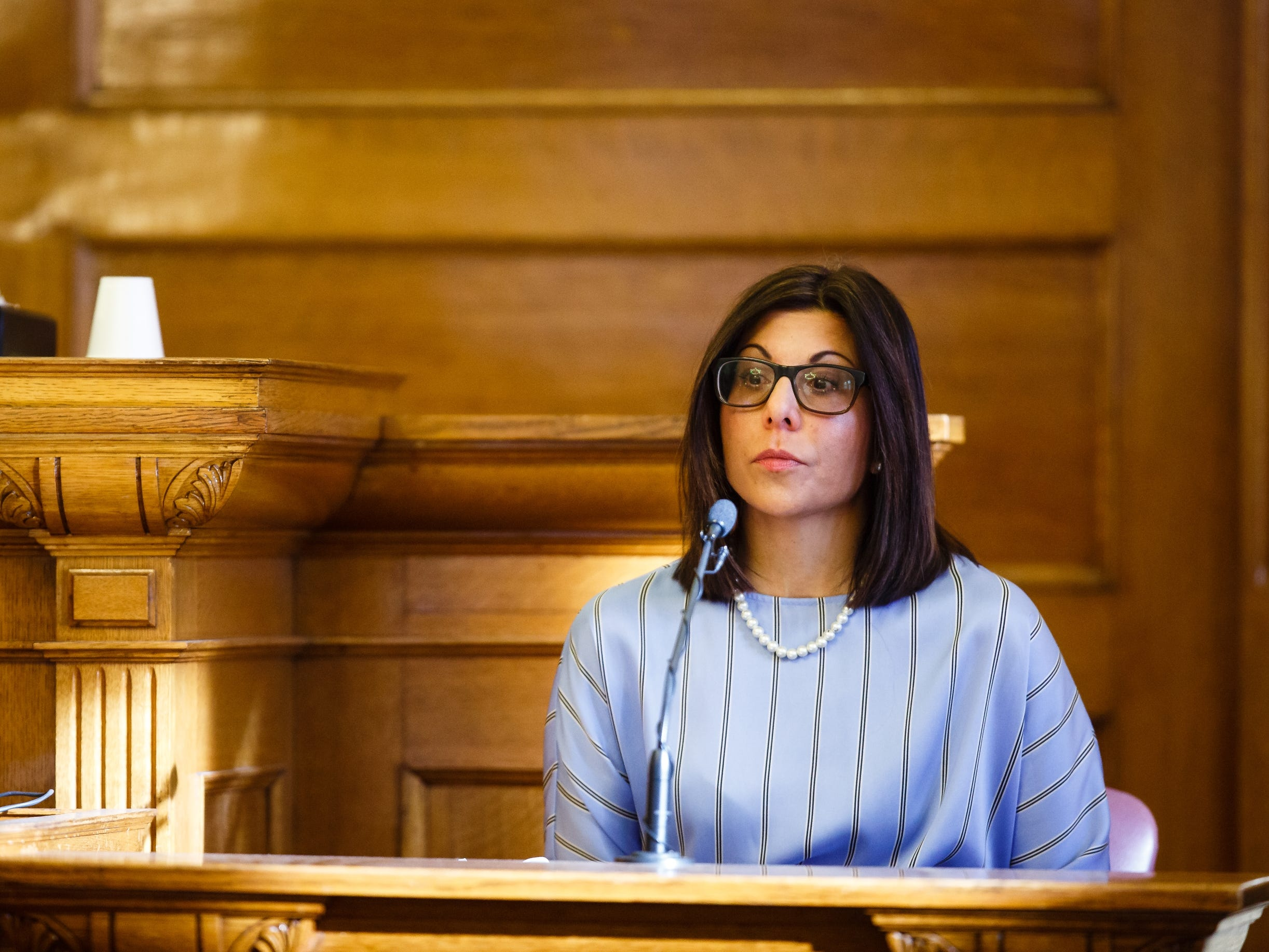 Gina Battani testifies during the criminal marital rape trial of her ex-husband Troy Griffin at the Dallas County Courthouse on Tuesday, Oct. 23, 2018, in Adel. The Dallas County jury found him not guilty on all counts.