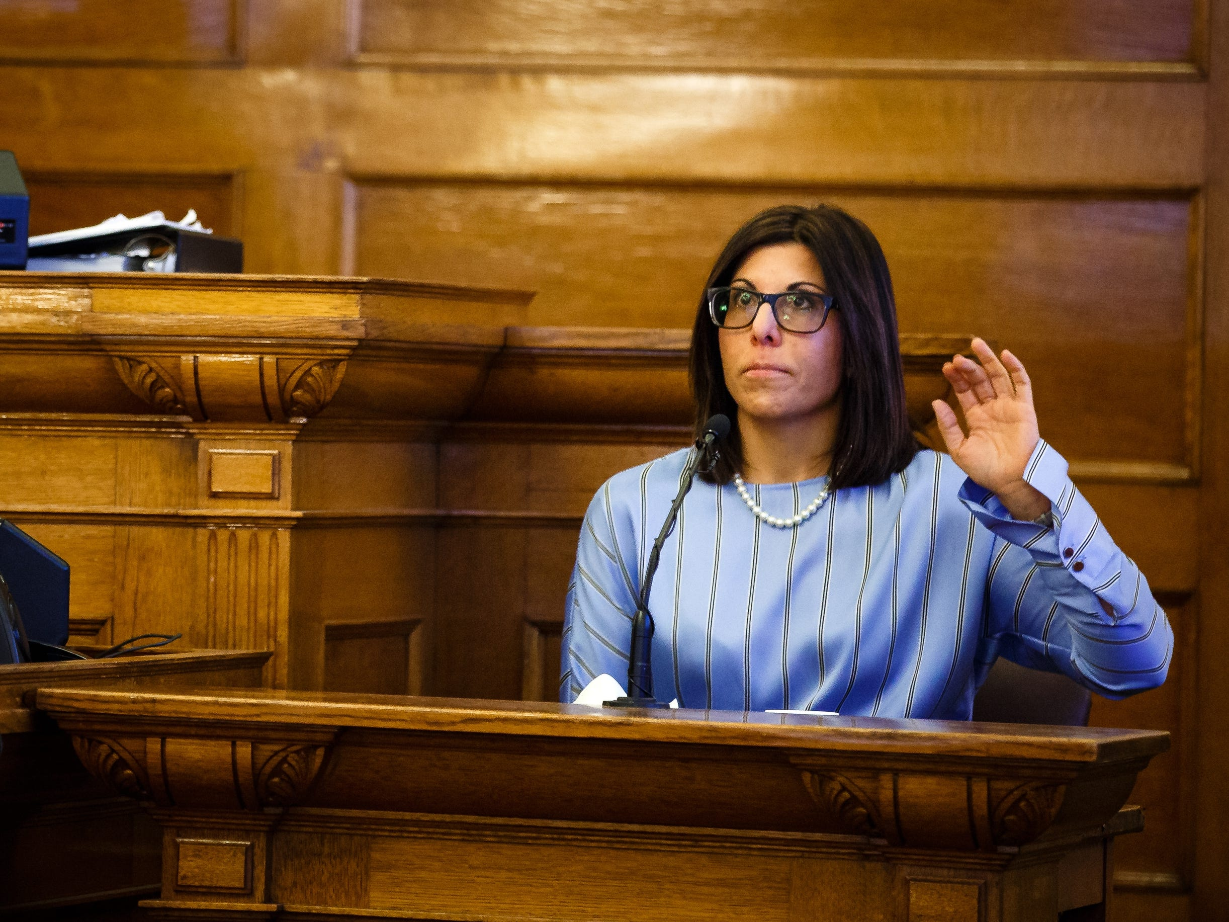 Gina Battani prepares to give testimony against her ex-husband Troy Griffin, who she accused of rape, at the Dallas County Courthouse on Tuesday, Oct. 23, 2018, in Adel. The Dallas County jury found Griffin not guilty on all counts.