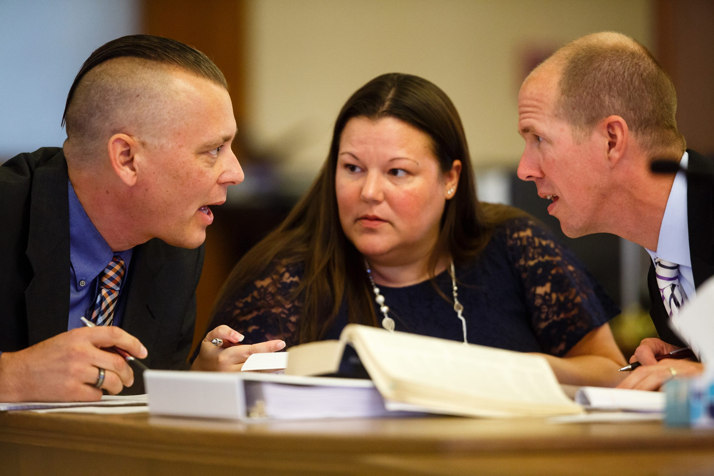 Troy Griffin, left, talks with his defense attorney, Robert Rehkemper, right, during opening statements at the Dallas County Courthouse on Monday, Oct. 22, 2018, in Adel. Griffin's ex-wife Gina Battani accused him of raping her repeatedly while they were married. A jury found him not guilty.