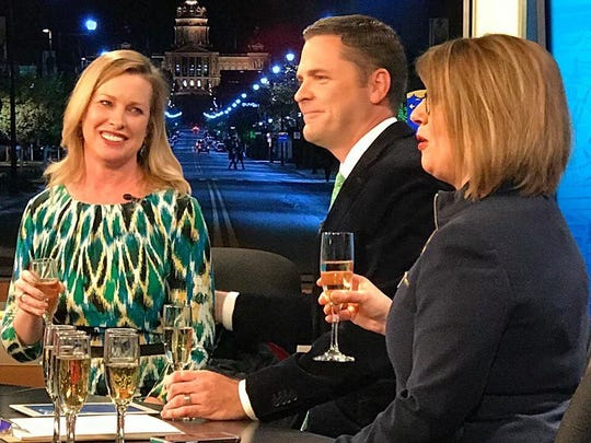 Brooke Bouma is sits with coworkers Andy Fales and Jeriann Ritter on Jan. 18, 2019, during her last news broadcast for WHO-HD.