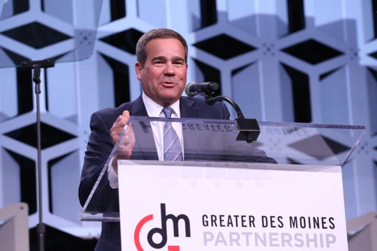Partnership 2018 Board Chair Dan Houston, Chairman, President and CEO of Principal speaks at the Partnership's Annual Dinner on January 17, 2019.