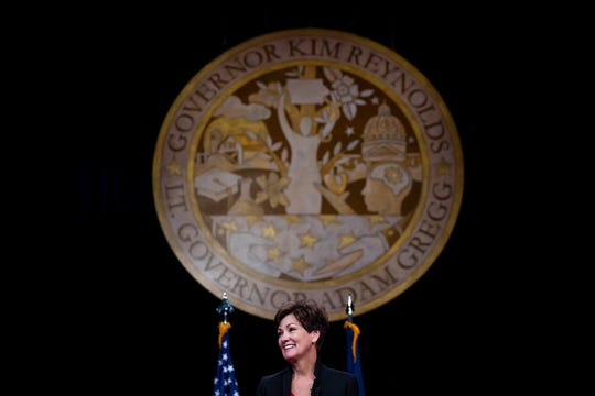 Gov. Kim Reynolds gives her Inaugural Address after being sworn into office on Friday, Jan. 18, 2019, in Des Moines.