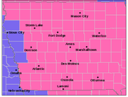 Nearly the entire state of Iowa is under a winter storm warning from noon Friday until 6 a.m. Saturday.