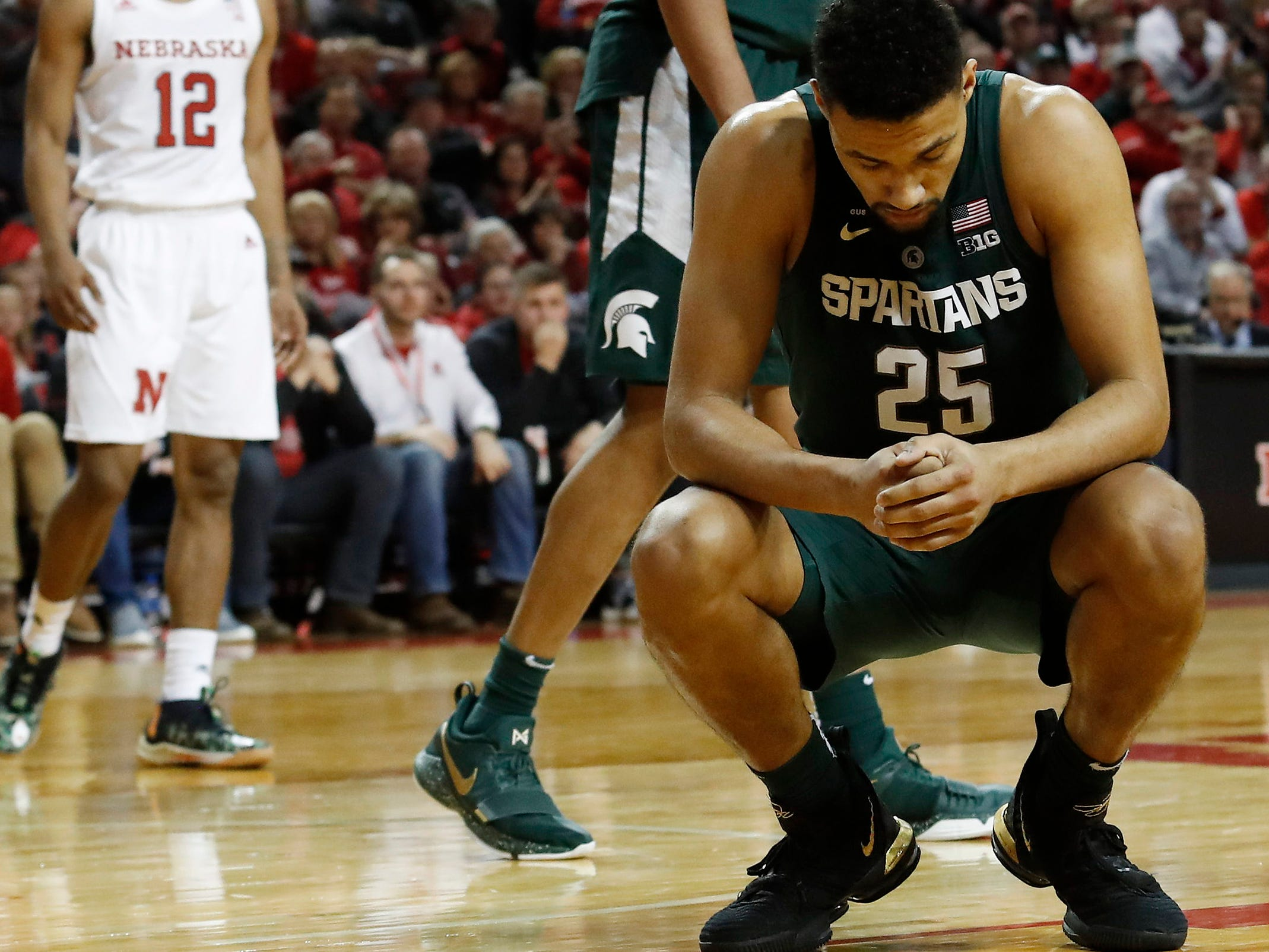 Michigan State Spartans forward Kenny Goins (25) reacts after a foul against the Nebraska Cornhuskers in the second half at Pinnacle Bank Arena. Michigan State won 70-64 on Thursday, Jan. 17, 2019.