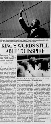 The Detroit Free Press wrote about impersonator Rudy Barker in February 2006. The Detroit man at the time had been performing as Dr. Martin Luther King, Jr. for more than 20 years.