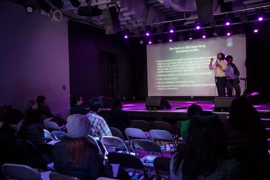 Detroit Wayne Mental Health Authority's director of Substance Use Disorder Initiatives Darlene D. Owens and prevention manager Karra Thomas present on stage during a naloxone training for the public at the El Club in southwest Detroit, Friday, Jan. 11, 2019.