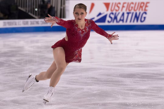Hannah Miller performs in the ladies short program during the 2018 U.S. Figure Skating Championships in San Jose, California.