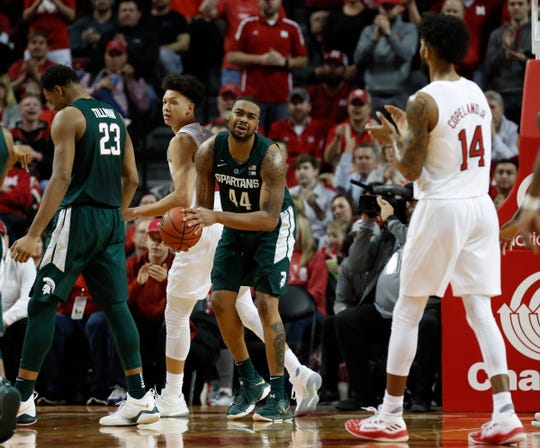 Michigan State Spartans forward Nick Ward (44) reacts during the game against the Nebraska Cornhuskers in the second half at Pinnacle Bank Arena on Thursday, Jan. 17, 2019.