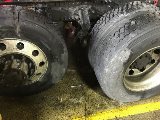 The space between two semi tires where an unidentified man, approximately 35-years-old, had gotten trapped on Thursday, Jan. 17, 2019. The Livonia Fire Department assisted the Plymouth Twp. Fire Department in his rescue.