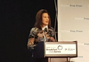 Michigan Gov. Gretchen Whitmer talked about fixing roads, education and said she was intent on working with Republicans at a Friday event.