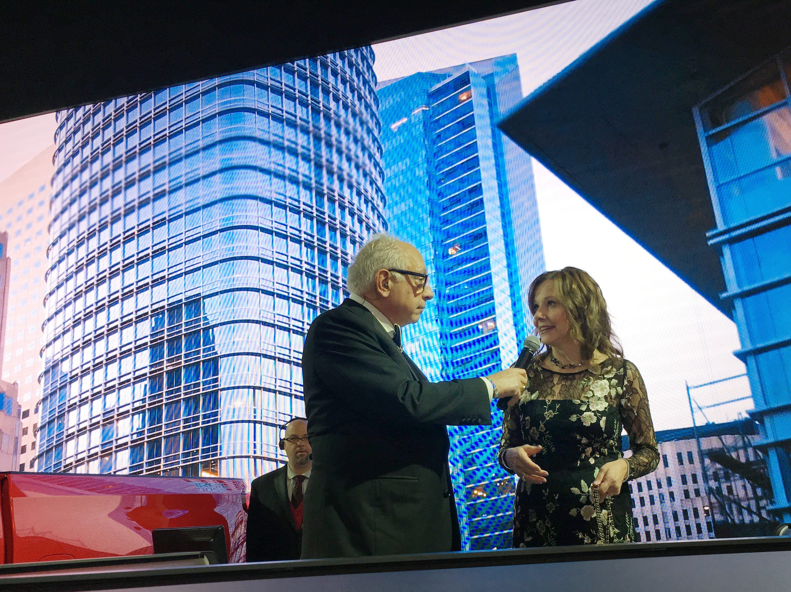 Paul W. Smith interviews General Motors CEO Mary Barra for WJR Radio during the Detroit auto show Charity Preview gala at Cobo Center in Detroit on Friday evening, January 18, 2019.