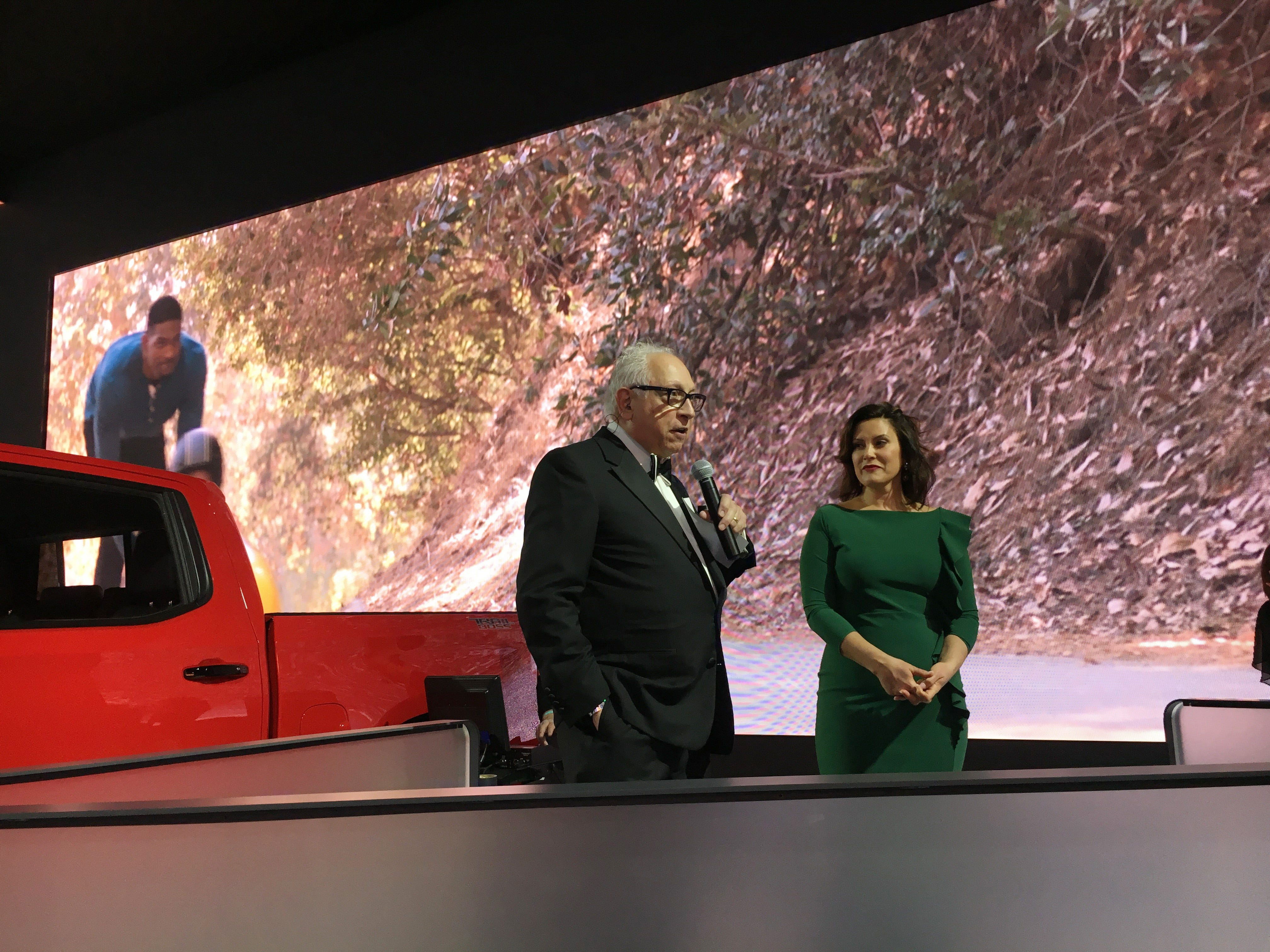 Paul W. Smith interviews Michigan Gov. Gretchen Whitmer for WJR Radio during the Detroit auto show Charity Preview gala at Cobo Center in Detroit on Friday evening, Jan. 18, 2019.