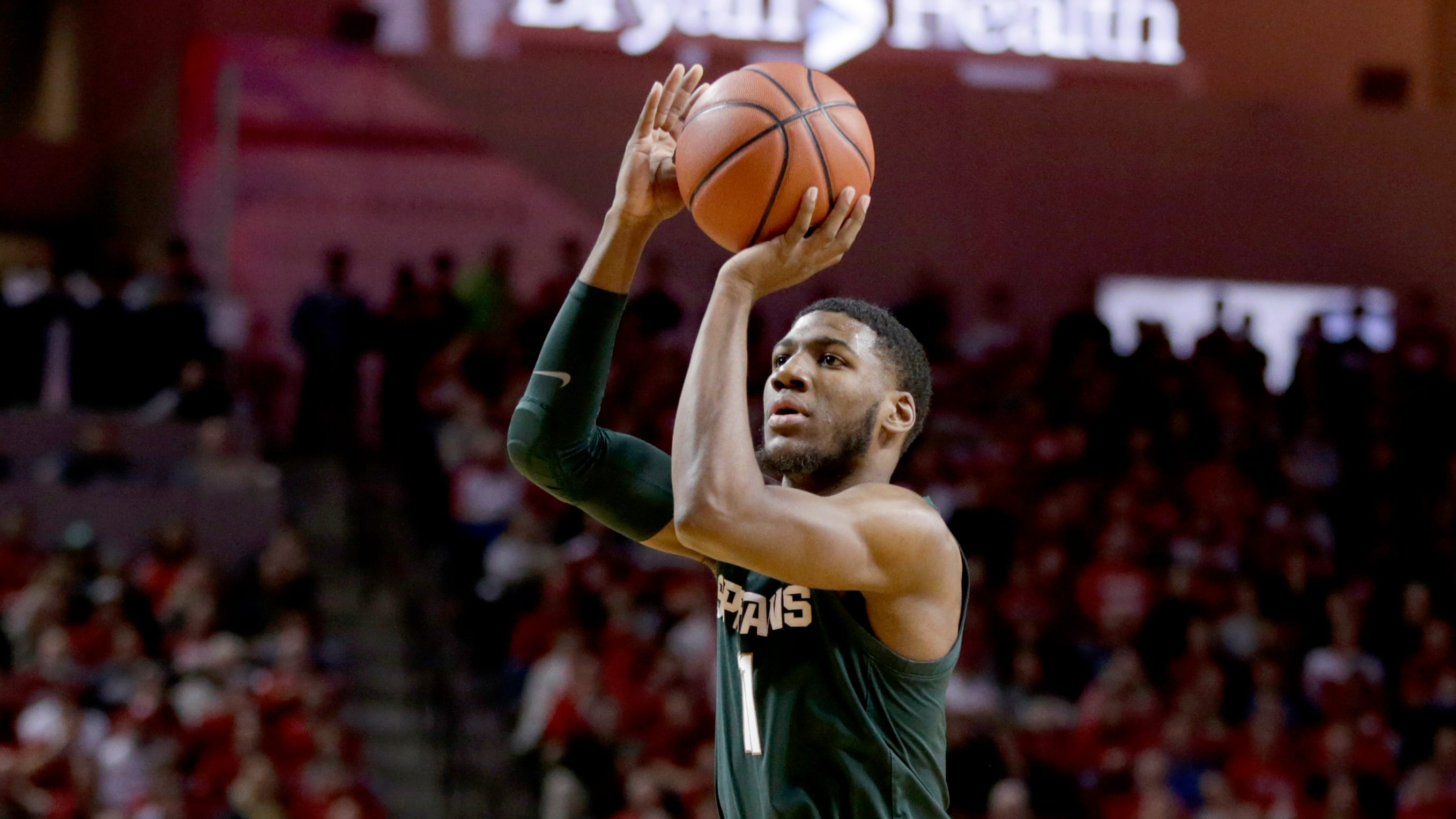 Michigan State's Aaron Henry shoots during the second half against Nebraska on Thursday night.