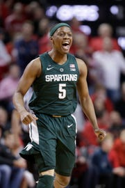 Michigan State's Cassius Winston makes a 3-pointer in the first half against Nebraska.