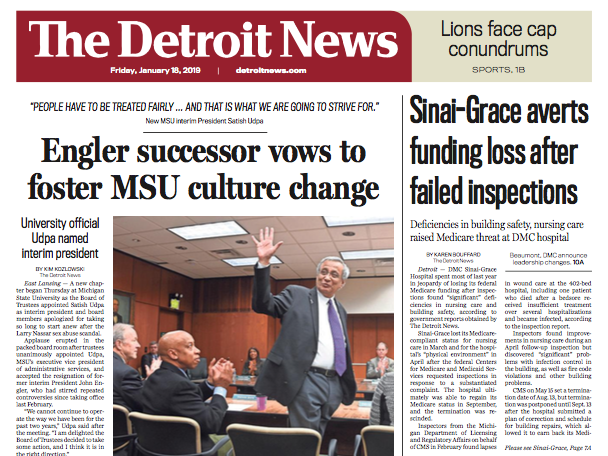 The front page of The Detroit News on Friday, January 18, 2019.