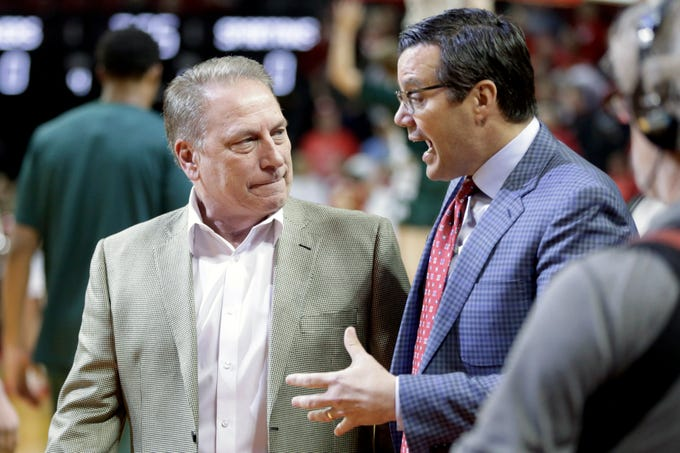 Michigan State coach Tom Izzo, left, and Nebraska coach Tim Miles chat before their game in Lincoln, Neb., Thursday, Jan. 17, 2019. Michigan State wins, 70-64.