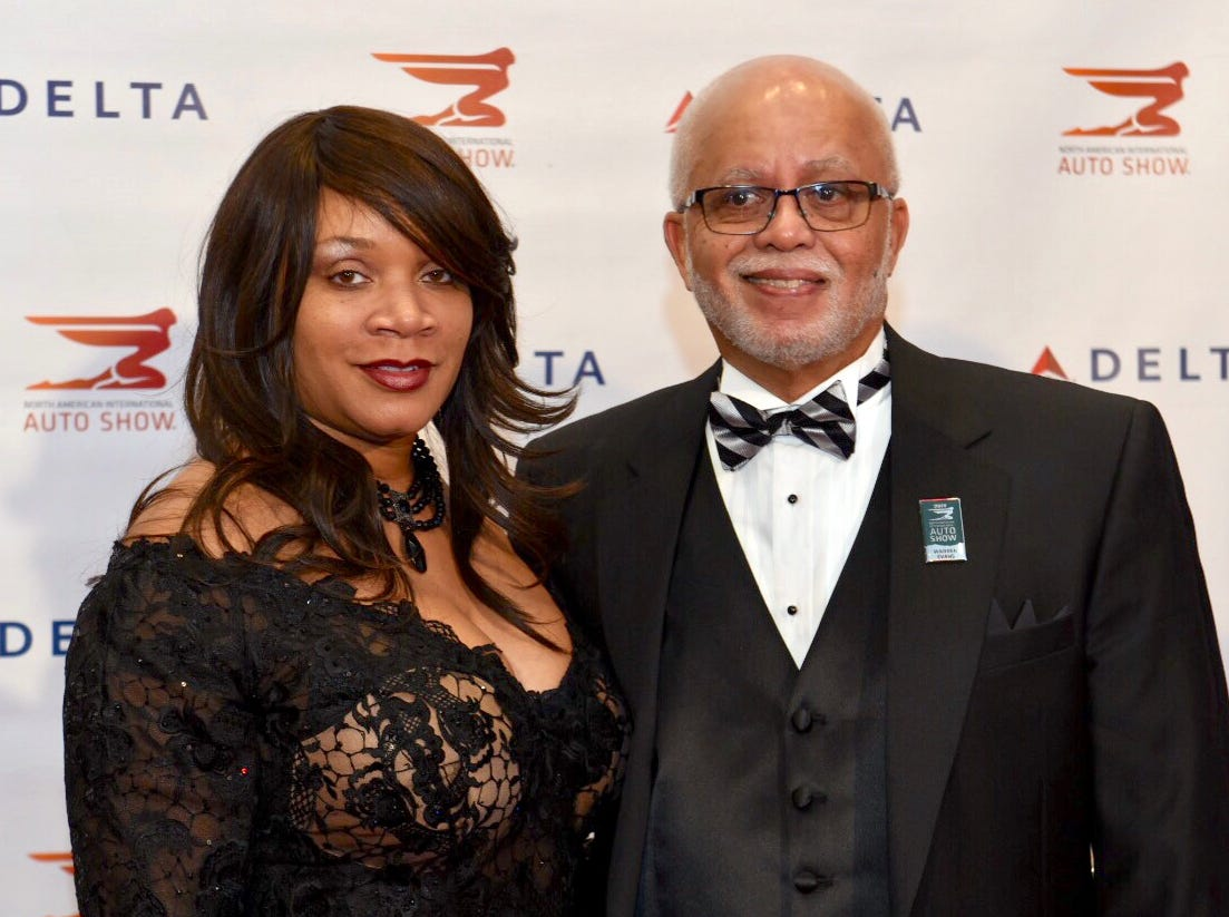 Wayne county executive Warren Evan and Renata Seals attend the Delta reception before the 2019 Auto Show Charity Preview gala Friday, Jan. 18, 2019 in Detroit.