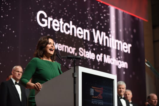 Gov. Gretchen Whitmer addresses the 2019 Auto Show Charity Preview ribbon-cutting ceremony.