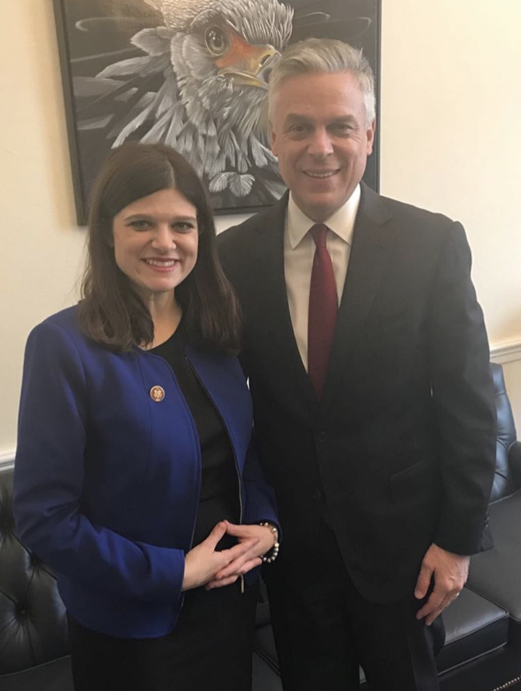 U.S. Rep. Haley Stevens, D-Rochester Hills, meets with U.S. Ambassador to Russia Jon Huntsman Jr.