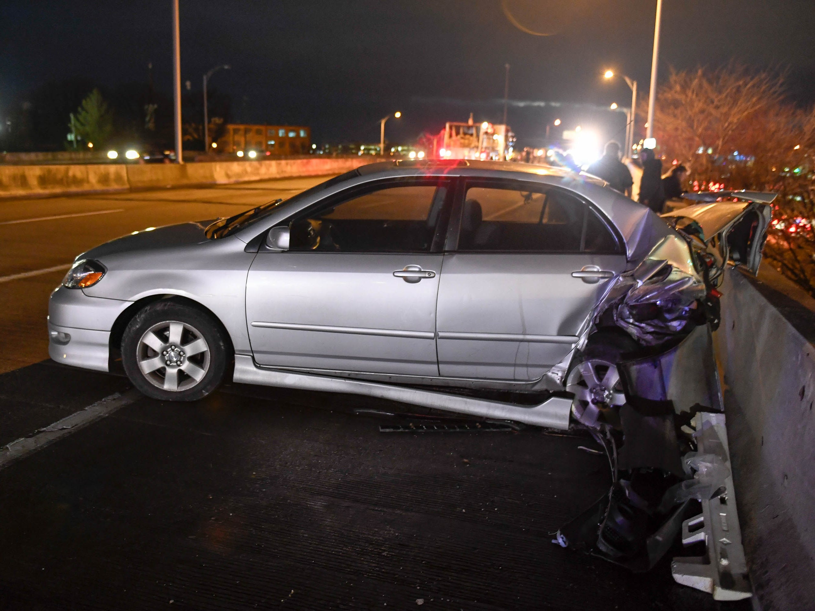 One of the vehicles involved in a rush-hour crash that closed the Westbound Lloyd Expressway at the Mary Street overpass Thursday, January 17, 2019.