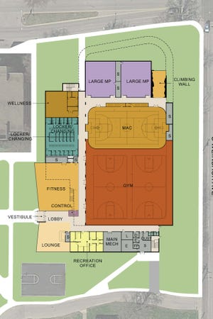 A blueprint of the ground floor of the wellness and recreation center planned at the University of Evansville.
