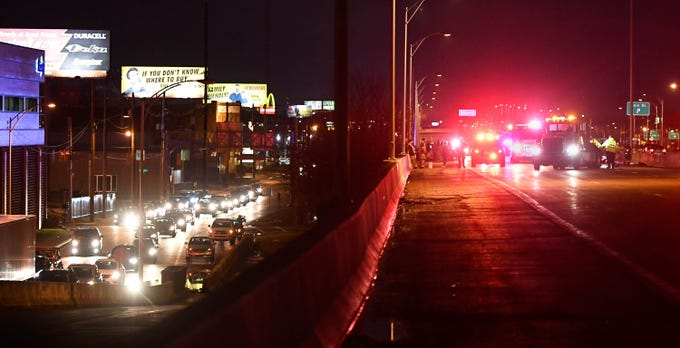 Traffic stopped on the Westbound Lloyd Expressway and detour traffic on West Division Street due to a rush-hour crash on the Mary Street overpass Thursday, January 17, 2019.