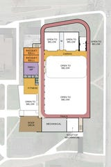 Top level of the health and wellness center planned at the University of Evansville.