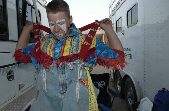 Severance rodeo bullfighter Lance Brittan, shown in this file photo preparing for the Greeley Stampede, was saddened after hearing of the death of bull rider Mason Lowe on Tuesday.
