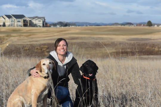 Kim McConnellogue poses with her Labrador retrievers, Jax, left, and Cuda where Cuda recently had an encounter with a coyote near their west Windsor home.