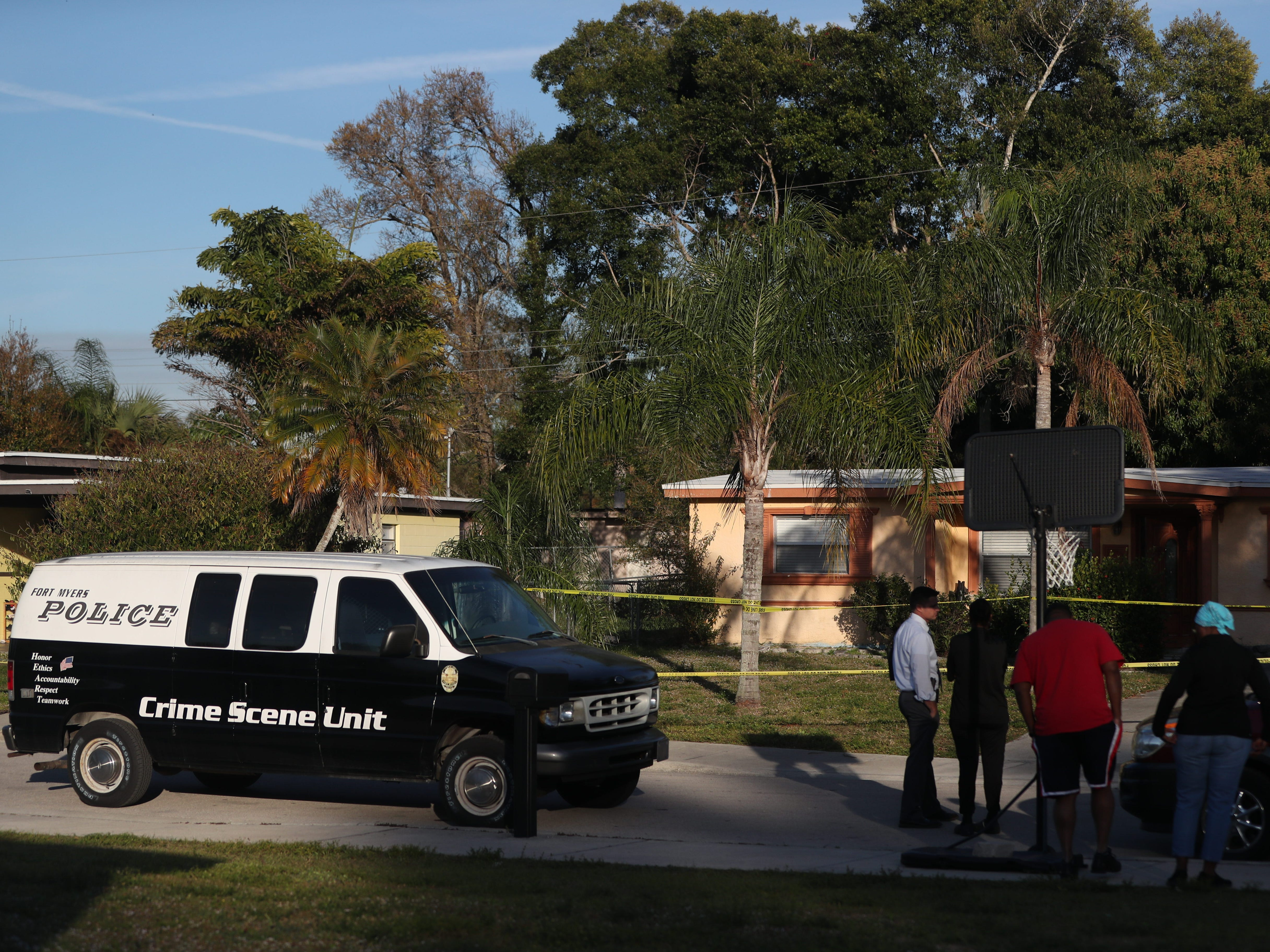 The Fort Myers Police Department processes the home where a mother and her 10-year-old son were found dead on Thursday. The Fort Myers Police Department has not provided the cause of death and are still investigating.