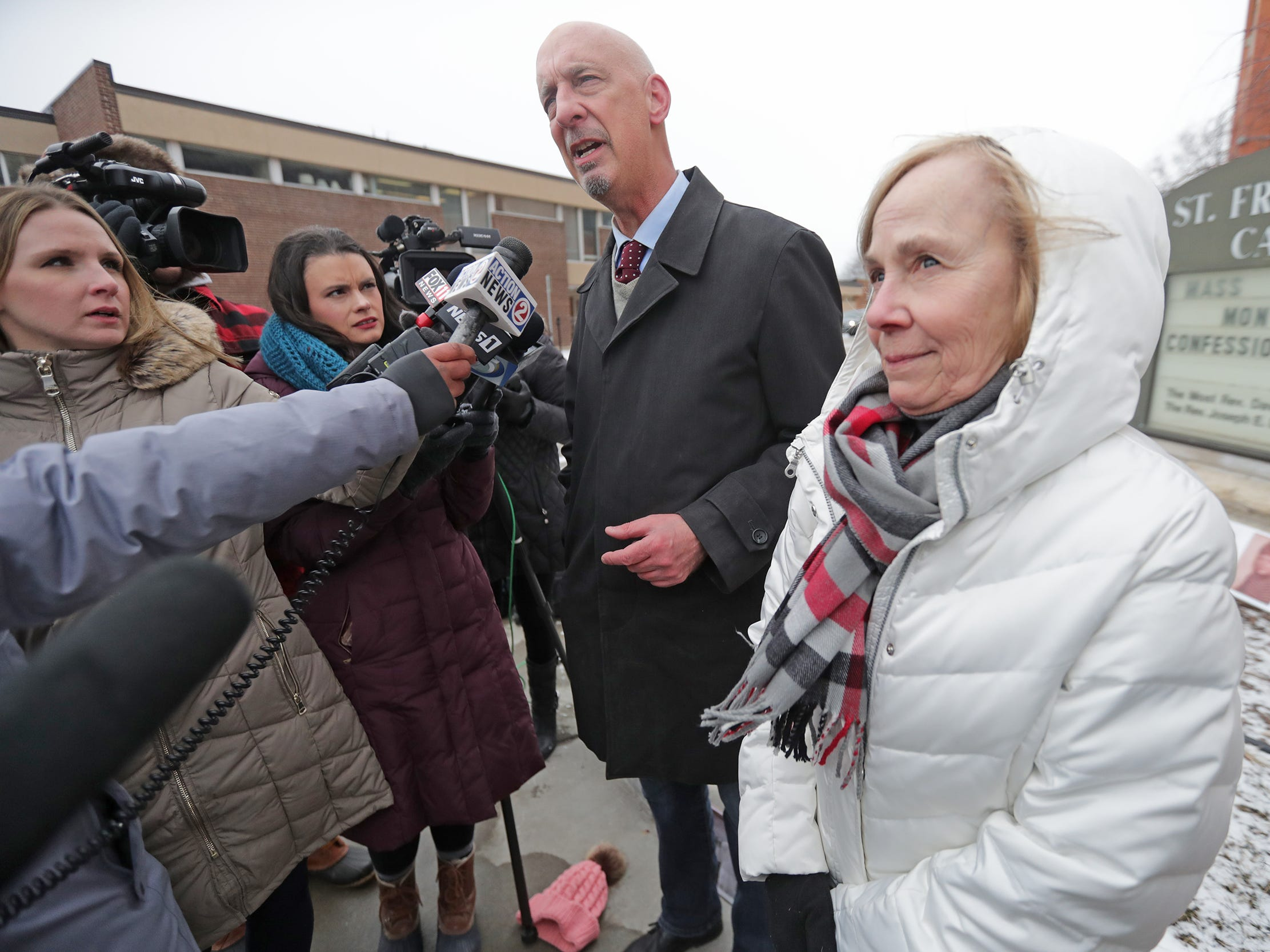 Alice Hodek, mother of a Green Bay abuse victim, stands in front of St. Francis Xavier Cathedral during a Jan. 18 press conference with Peter Isely of Survivors Network for those Abused by Priests.