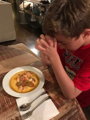 Kim Eades has been making shrimp & grits ever since she moved to the South.  This recipe has been voted as No. 1 by one of her biggest fans — her son Grant.