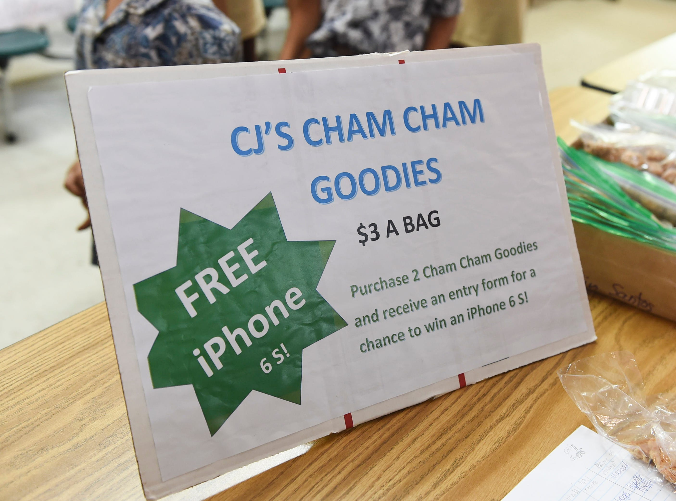 CJ's Cham Cham Goodies stand during the 5th Annual Ysrael School of Business Retail Bazaar and Entrepreneur Fair at Our Lady of Mount Carmel Catholic School in Agat, Jan. 18, 2019.