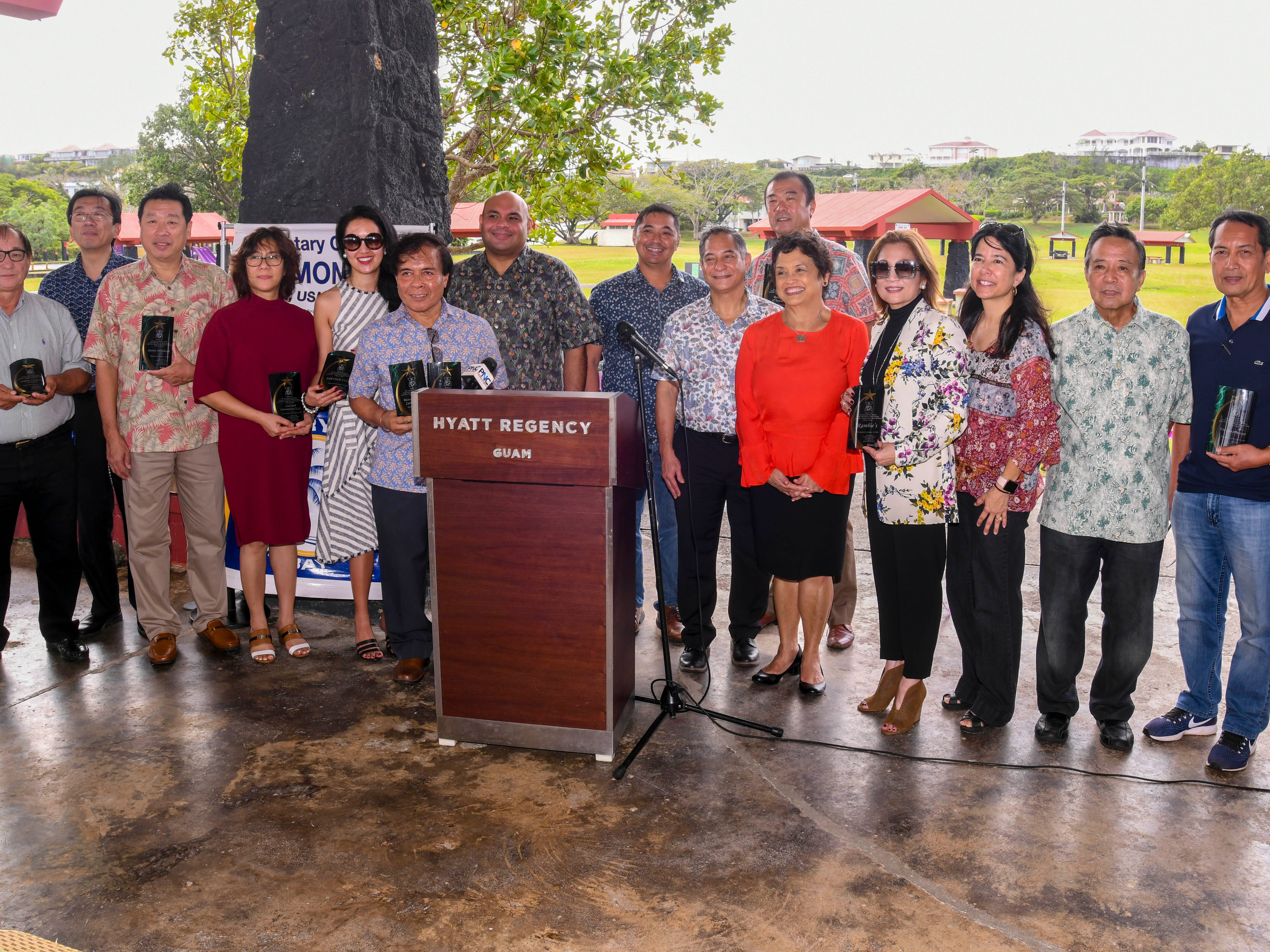 Local businesses are recognized for their contributions in the Rotary Club of Tumon Bay's Adopt-a-Shelter project during a unveiling ceremony at the Gov. Joseph Flores Memorial Park in Tumon on Friday, Jan. 18, 2019. The contributors gathered for a photo with Gov. Lou Leon Guerrero, Lt. Gov. Josh Tenorio and club Rotarians.