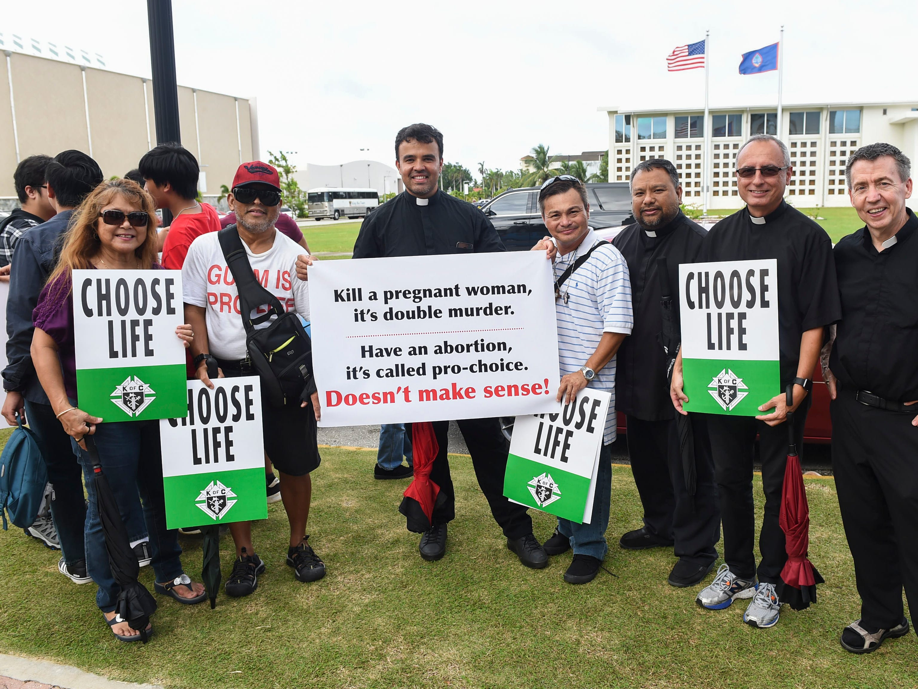 Parishioners and clergy members from St. Anthony's Catholic Church, Our Lady of Mount Carmel Catholic Church, and Dulce Nombre de Maria Cathedral-Basilica, attend the March for Life event in Hagåtña on Jan. 18, 2019.