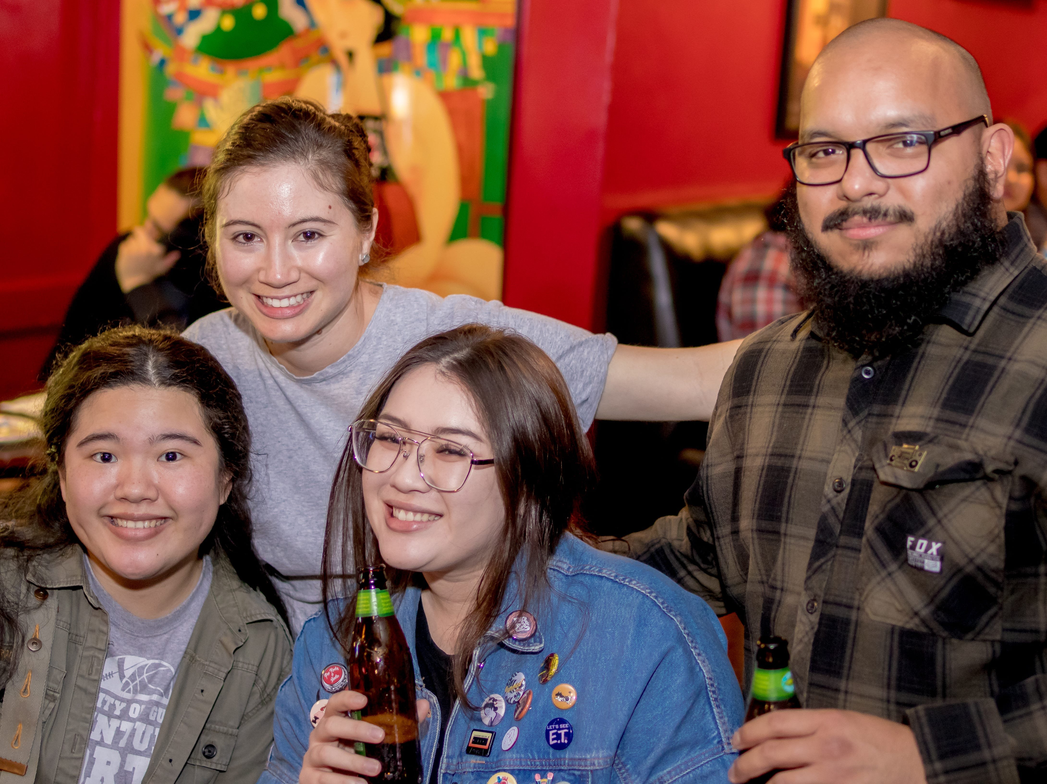 "From left, Stasia Yoshida, Hana Johnston, Sarah Takegawa, and Tony Flores attend the Local Deluxe and Fat Tofu's ""Road to Japan"" fundraising event at the Venue on January 10."