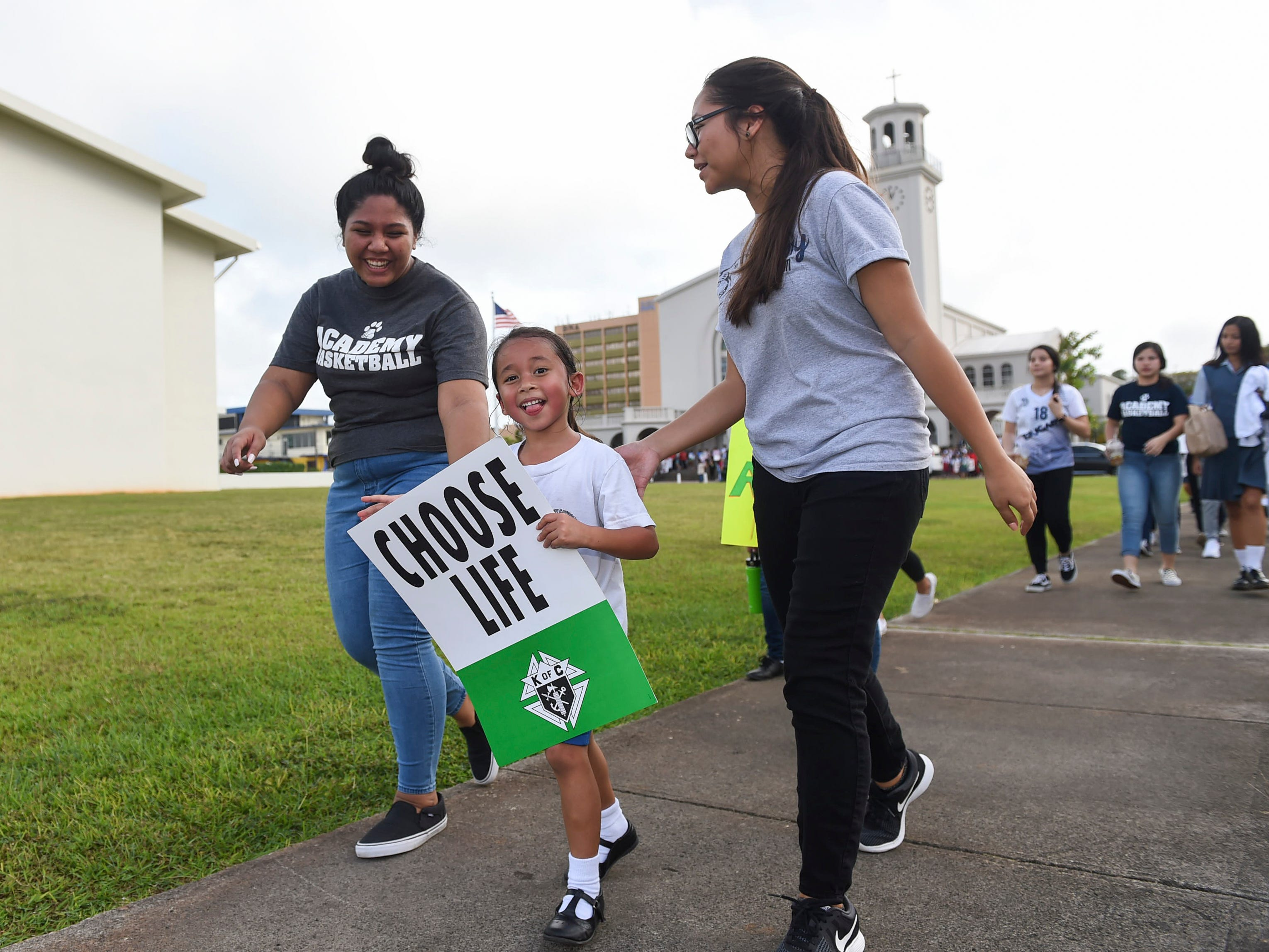 Pro-life supporters begin their March for Life event, an annual anti-abortion event spearheaded by the Guam Catholic Pro-Life Committee, at the Dulce Nombre de Maria Cathedral-Basilica in Hagåtña on Jan. 18, 2019.