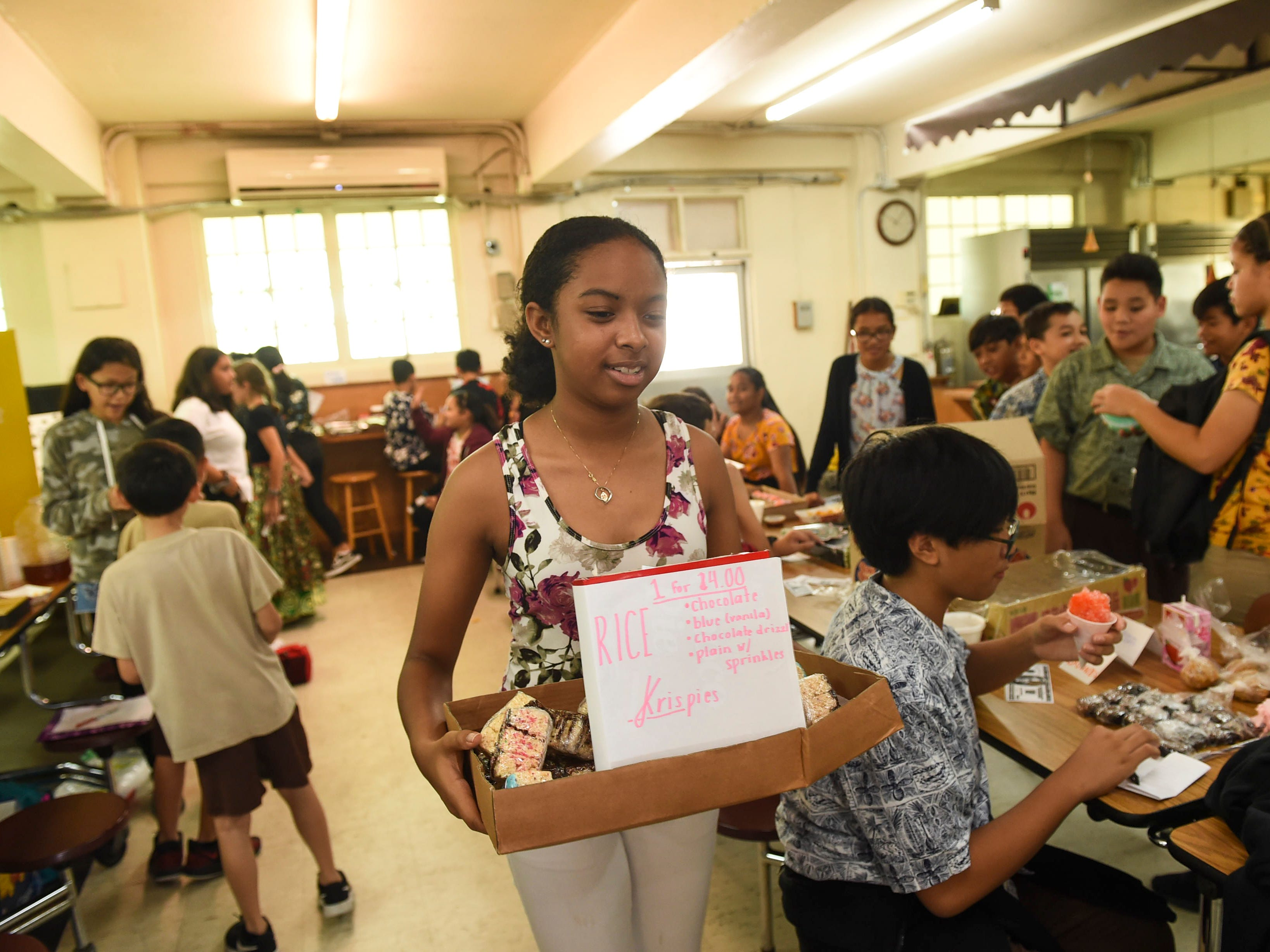 One hundred-fifty middle school students participated during the 5th Annual Ysrael School of Business Retail Bazaar and Entrepreneur Fair at Our Lady of Mount Carmel Catholic School in Agat, Jan. 18, 2019. Utilizing fake money, students have the opportunity to make company transactions and calcuate their profits for business reports.