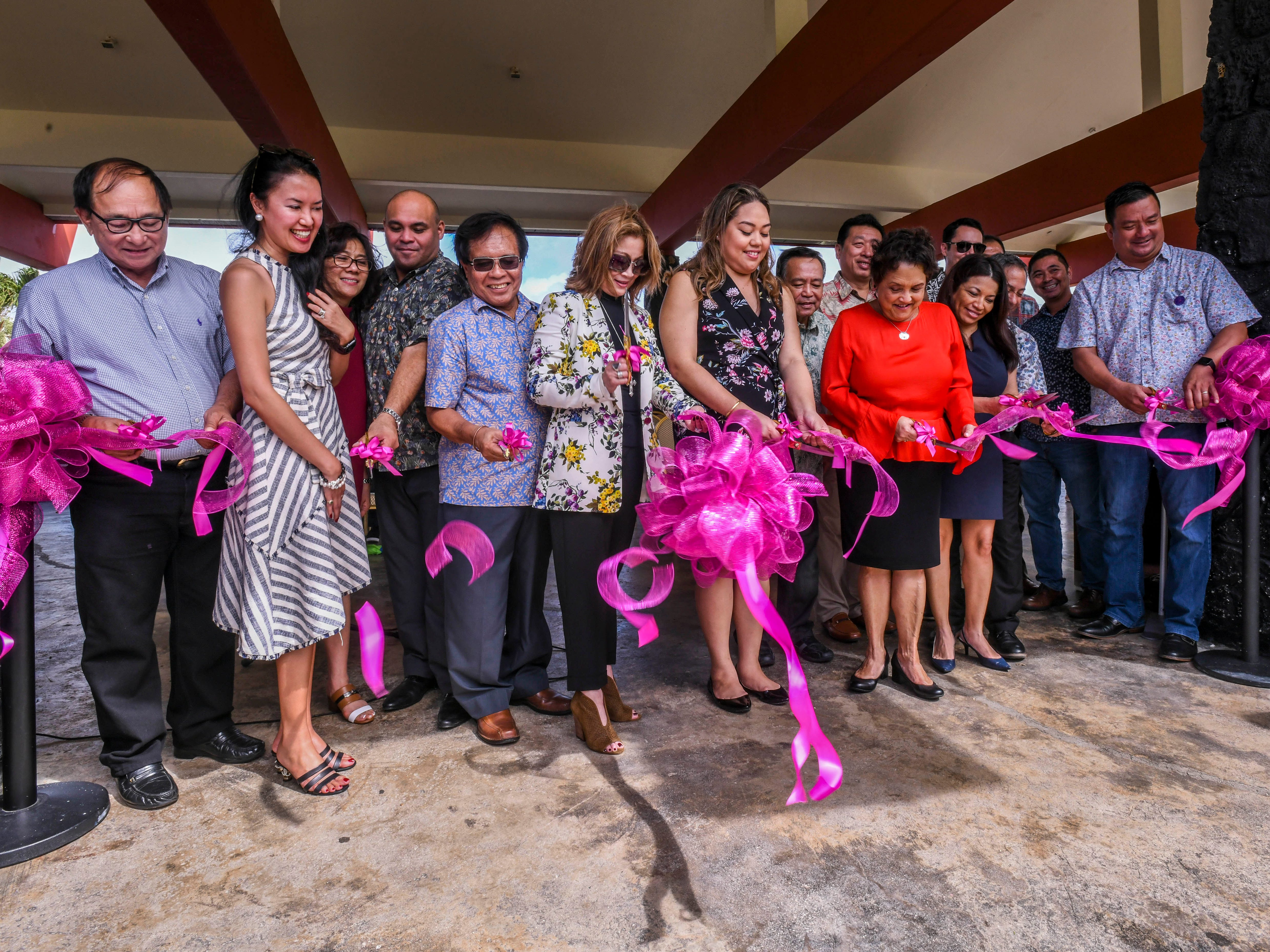 A ribbon is cut to celebrate the completion of the Rotary Club of Tumon Bay's Adopt-a-Shelter project during a unveiling ceremony at the Gov. Joseph Flores Memorial Park in Tumon on Friday, Jan. 18, 2019.