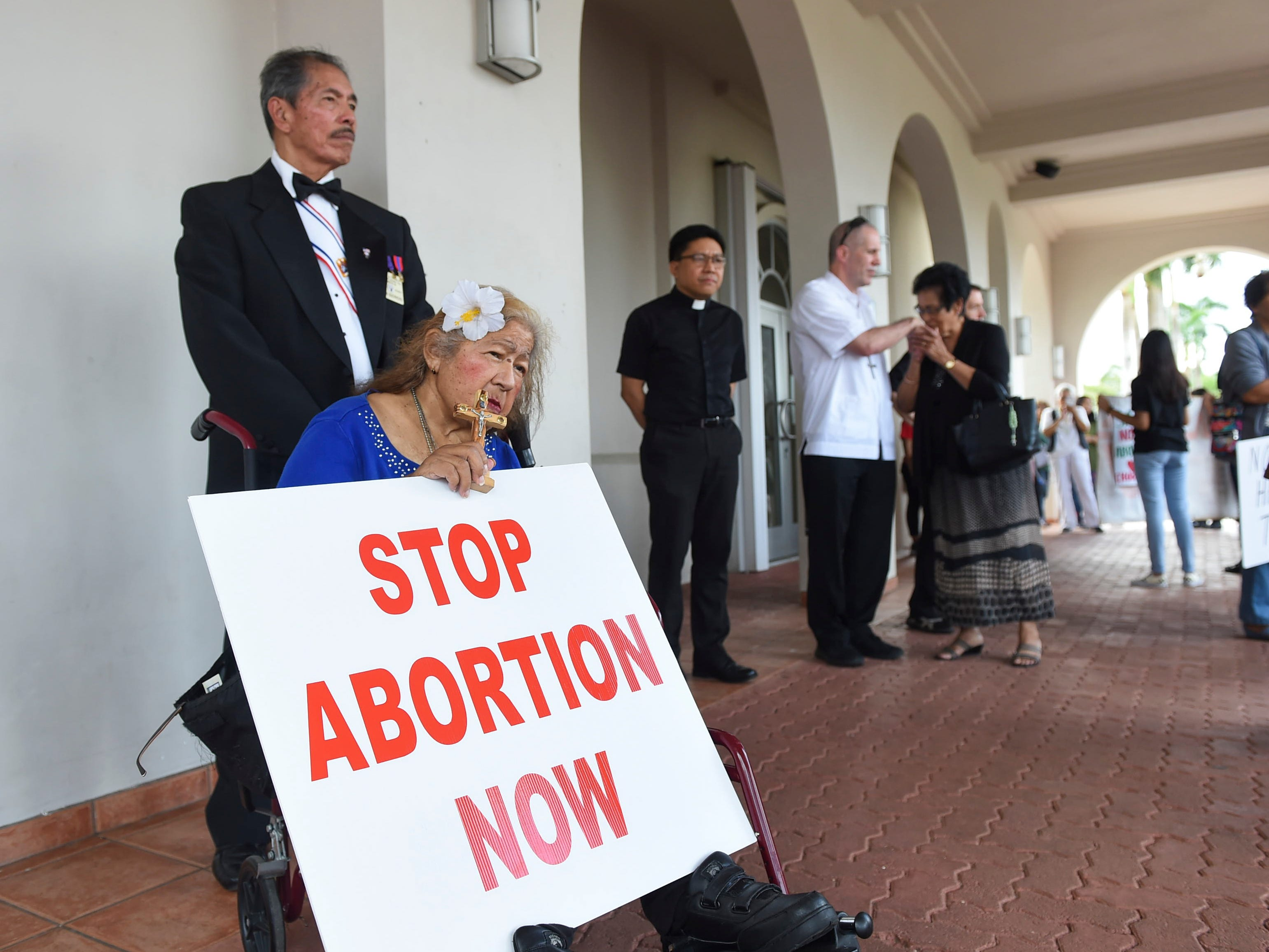Hundreds of pro-life supporters from various schools and parishes attend the March for Life, an annual anti-abortion event spearheaded by the Guam Catholic Pro-Life Committee, at the Dulce Nombre de Maria Cathedral-Basilica in Hagåtña on Jan. 18, 2019.