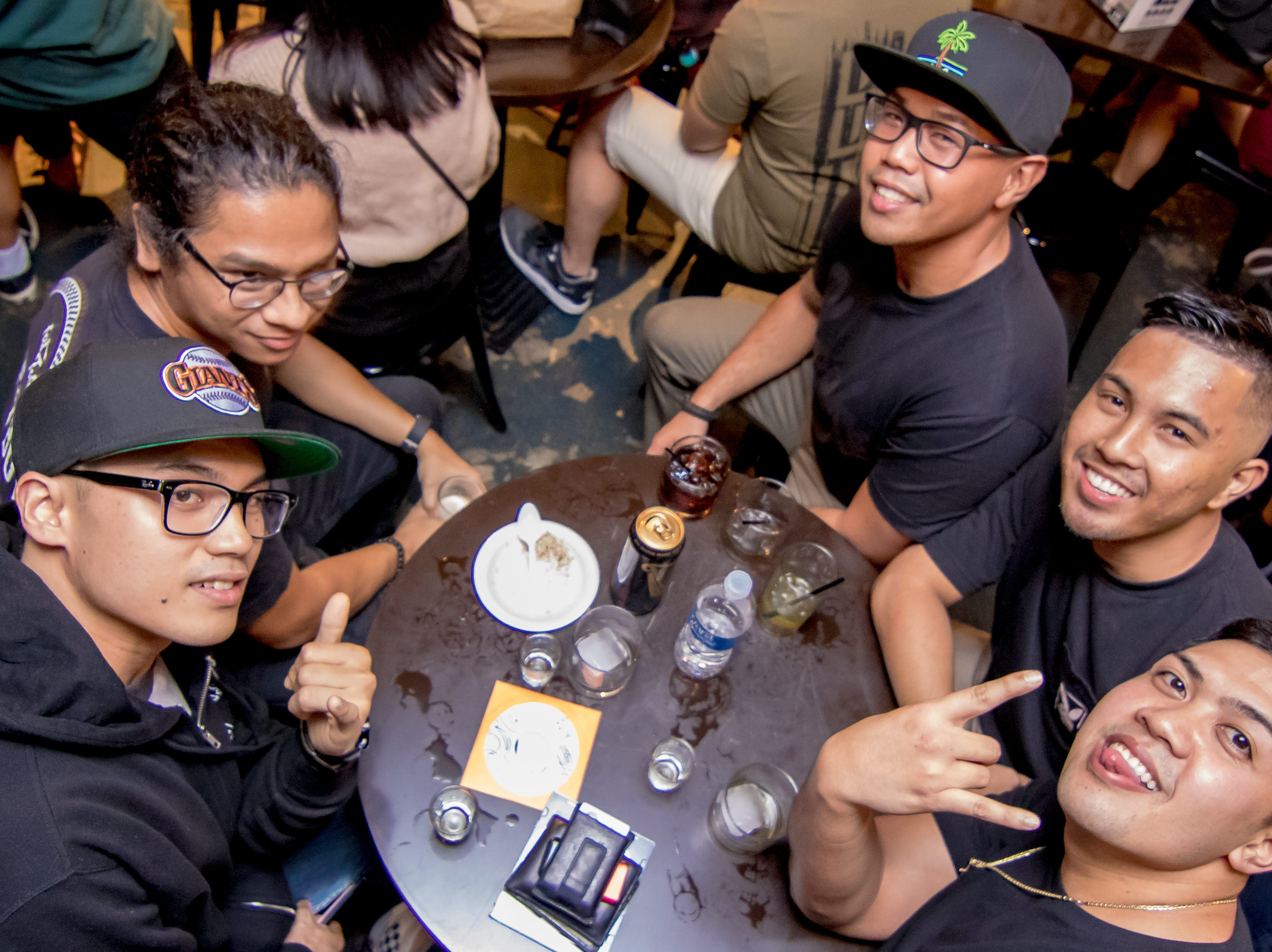 "Clockwise from left, Rodney Torres, Gino Datuin, Miguel Cipriano, Merrick Orot, and Christian Josef attend the Local Deluxe and Fat Tofu's ""Road to Japan"" fundraising event at the Venue on January 10."