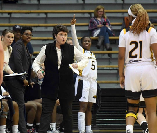 In this file photo, Southern Miss head coach Joye Lee-McNelis yells to her players in a conference game against Charlotte in Reed Green Coliseum on Thursday, January 17, 2019. The Lady Eagles will face Nicholls State in the first round of the Women's Basketball Invitational at 6 p.m. Thursday in Hattiesburg.