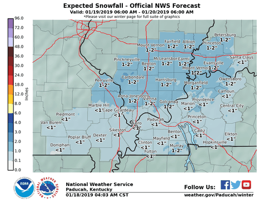 As of Friday afternoon, this is the snow range expected for this area, according to the National Weather Service