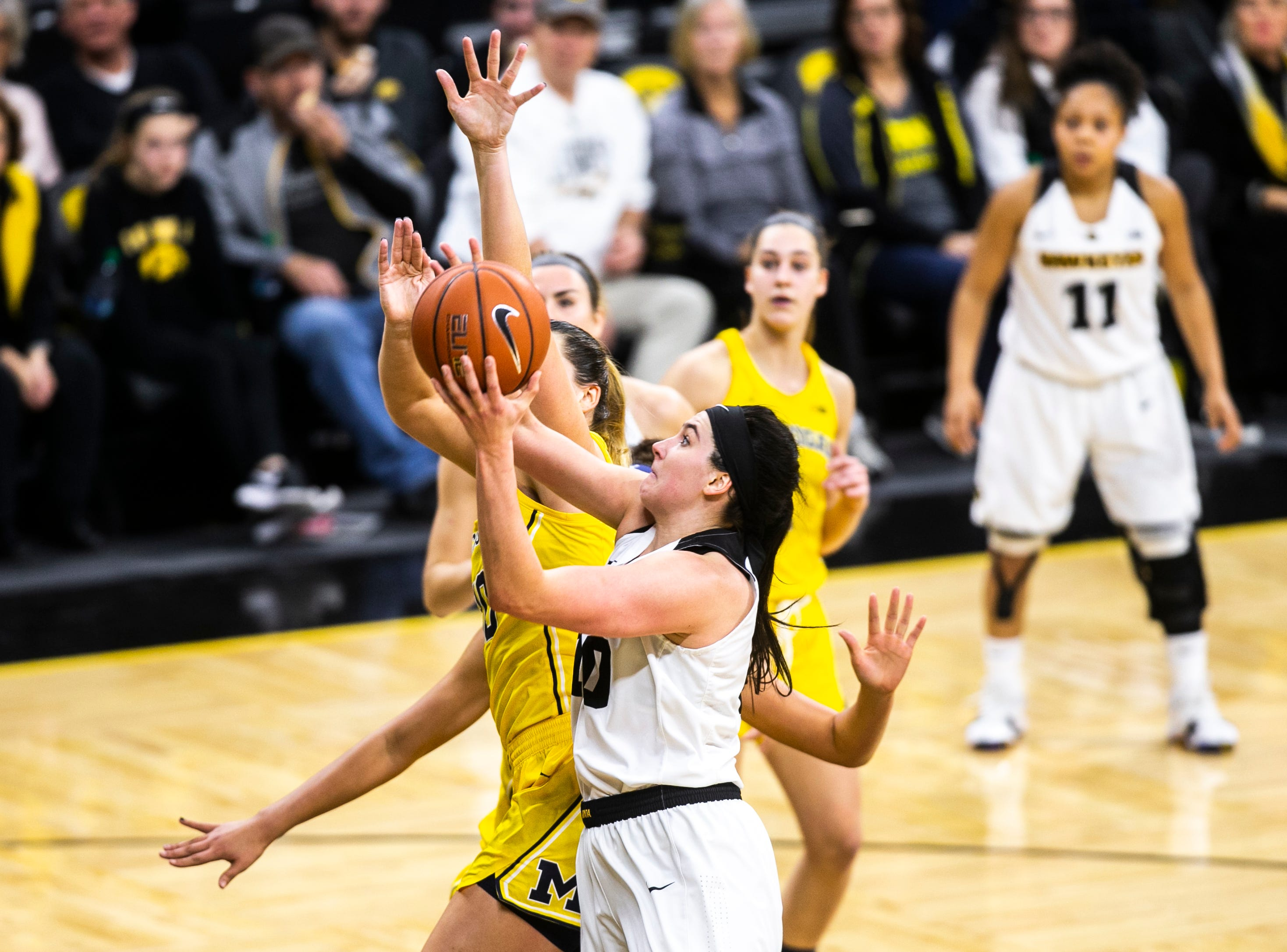 Iowa forward Megan Gustafson (10) attempts a basket during a NCAA Big Ten Conference women's basketball game on Thursday, Jan. 17, 2019, at Carver-Hawkeye Arena in Iowa City, Iowa.