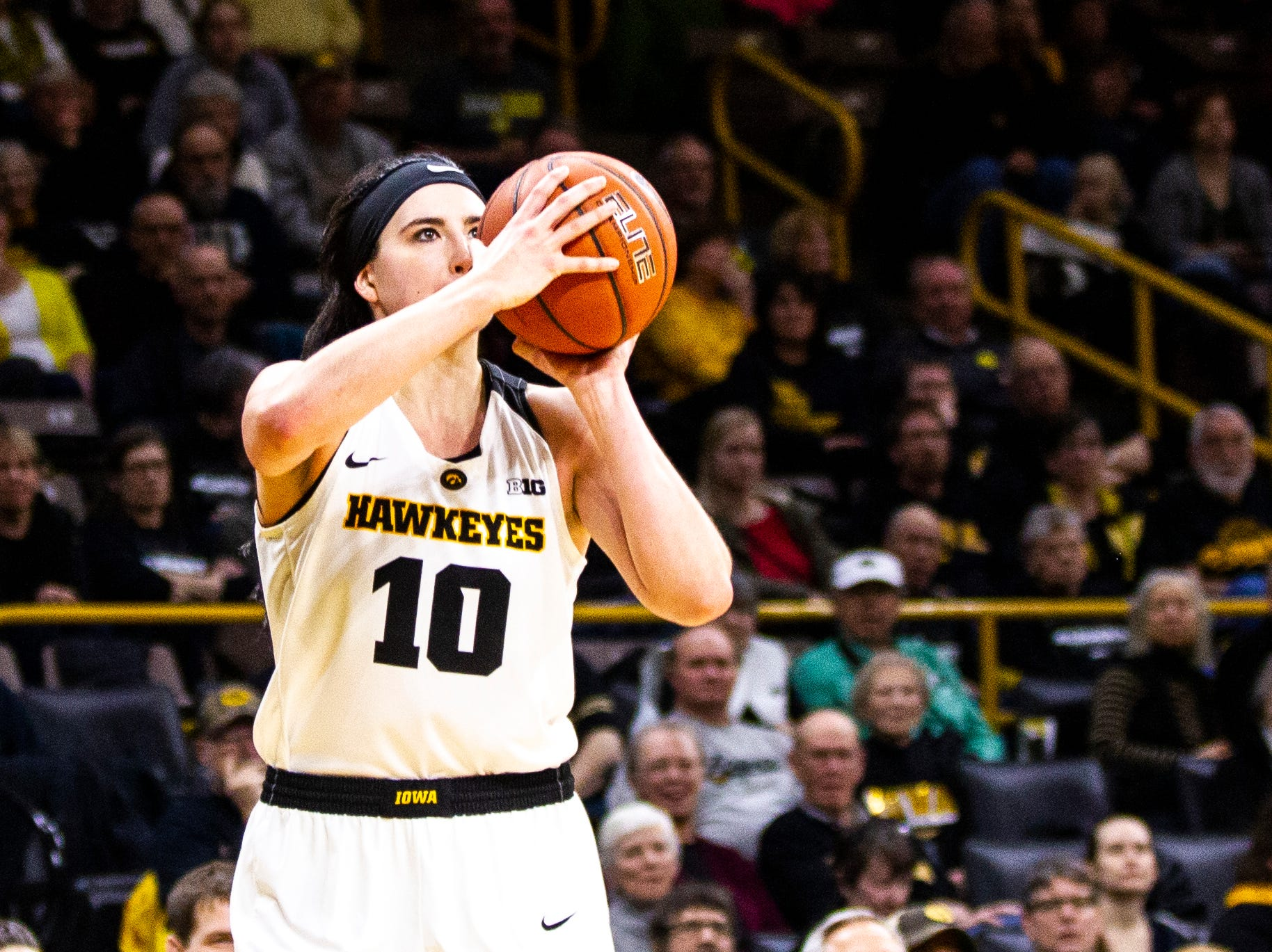 Iowa forward Megan Gustafson (10) shoots a basket during a NCAA Big Ten Conference women's basketball game on Thursday, Jan. 17, 2019, at Carver-Hawkeye Arena in Iowa City, Iowa.