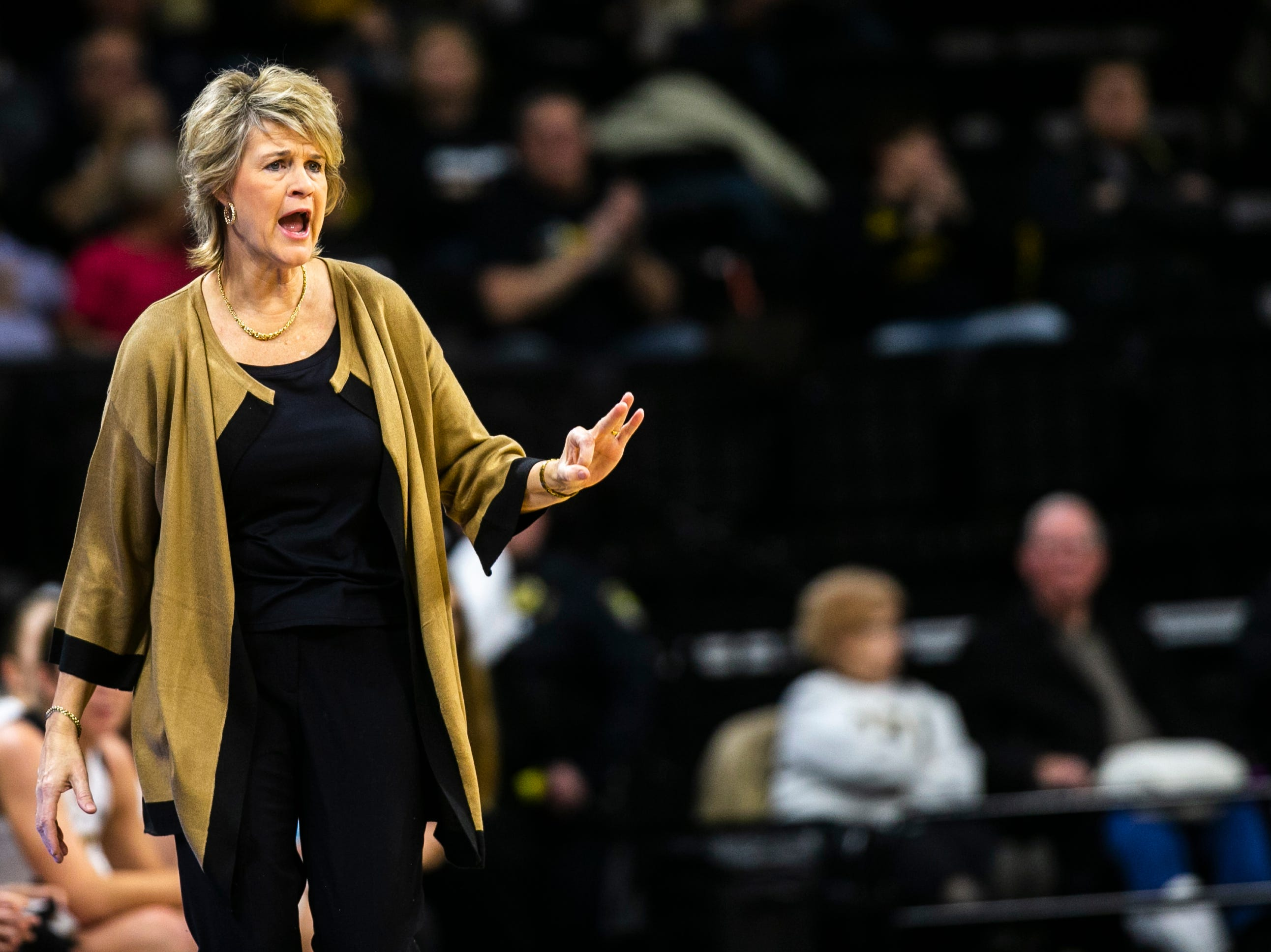 Iowa head coach Lisa Bluder calls out to players during a NCAA Big Ten Conference women's basketball game on Thursday, Jan. 17, 2019, at Carver-Hawkeye Arena in Iowa City, Iowa.